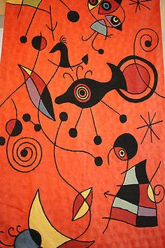 Joan Miro attr. Tapestry Embroidered wall hanging fiber art  Mid-Century Modern
