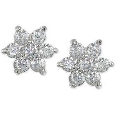 Giani Bernini Cubic Zirconia Flower Stud Earrings, ($16) ❤ liked on Polyvore featuring jewelry, earrings, silver, cz jewelry, 18k jewelry, flower stud earrings, 18 karat gold earrings and cz jewellery