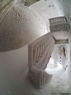 Abandoned building snow bound