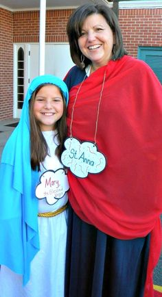 "In honor of All Saints Day 2014, Saint Margaret Catholic School held the ""Parade of Saints.""  The observance began with a prayer service involving kindergarten through eighth grade students, with each student dressed as their favorite saint.  Mrs. Wendy Wicke, school principal, portrayed St. Anna.  Mary, her daughter, dressed as the Blessed Mother."