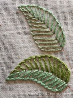 Folha bordada em linha