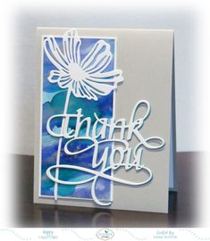 Die cuts on Yupo paper/alcohol ink background - Tutorial: Mass Producing Thank You Cards – Elizabeth Craft Designs Diy Cards, Your Cards, Handmade Cards, Quick Cards, Thank U Cards, Art Impressions Stamps, Homemade Birthday Cards, Alcohol Ink Crafts, Elizabeth Craft Designs