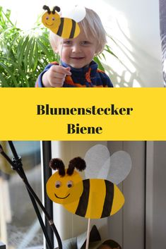 Blumenstecker mit Kindern basteln. Kleine Biene. Biene Maja und die Honigspiele / Bee craft for Kids
