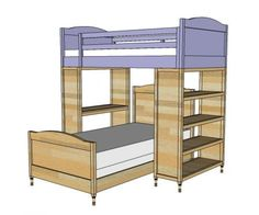 I want to make this!  DIY Furniture Plan from Ana-White.com  Top bunk for the Chelsea Bunk System. This bunk is designed to work with a desk system and a bookshelf, creating a bunk bed system with storage. The bottom bunk sits perpendicular to the top. The little details make this bunk a touch more girly, but just as strong, and even easier to build. Features optional full guardrails.