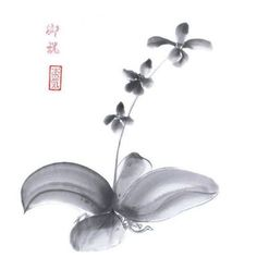Orchid Original painting Japanese art sumi-e wash ink Wall decor home decor gift for her for women black and white Original Paintings, Japanese Art, Drawings, Painting, Art, Art Pens, Chinese Drawings, Original Art Painting, White Art