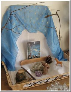 winter nature table. Blue fabric, a winter scene postcard or even Christmas card!