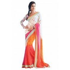 Shop Now - http://www.valehri.com/multi-color-georgette-designer-party-wear-saree-with-blouse