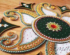 Rangoli Kundan Bollywood inspired Acrylic floor art by Nirman Thali Decoration Ideas, Diy Diwali Decorations, Indian Wedding Decorations, Colorful Rangoli Designs, Rangoli Designs Diwali, Beautiful Rangoli Designs, Diwali Diy, Diwali Craft, Paper Quilling Designs