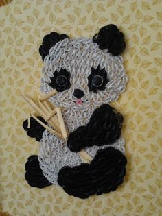 panda bear with hearts | Quilled