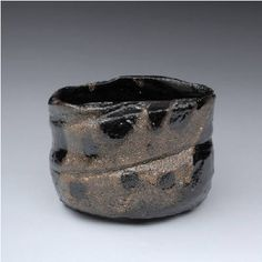 Artist: Suzuki Goro, Title: Kuro Oribe Teabowl  - click on image to enlarge