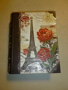 PUNCH STUDIO RED ROSE EIFFEL BOOK BOX LARGE  20 PIECE DECORATIVE NOTE CARD SET
