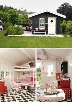OMG! Look at this little house! I like the outdoor deck, and bench as well as the white interior