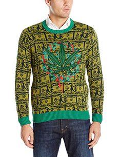 Blizzard Bay Men's Cash Business Holiday Ugly Christmas Sweater - Marijuana Pot Leaf