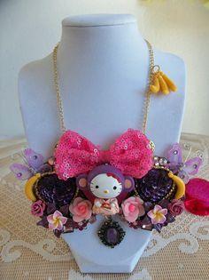 zodiac kitty bib necklace by gumdropglamour on Etsy, $65.00