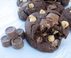 Chocolate Rolo Double Peanut Butter Cookies. A chewy, brownie-like textured chocolate cookie with a hint of peanut butter. The best part about these cookies are the little puddles of caramel that formed in and on the cookies as the rolos melted!