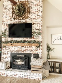 best thing we could've done to our fireplace! Absolutely loving this German schmear look!The best thing we could've done to our fireplace! Absolutely loving this German schmear look! Brick Fireplace Makeover, Farmhouse Fireplace, Home Fireplace, Living Room With Fireplace, Fireplace Design, Home Living Room, Fireplace Ideas, White Wash Brick Fireplace, Brick Fireplace Remodel