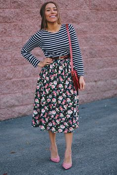 Floral and stripes never looked so good! Wearing a dress from  DaintyJewell's . If you love this combination of prints as much as I do, you...