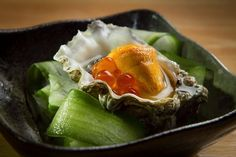 The Yonsei oyster is topped with sea urchin and salmon roe. Hopscotch in Oakland