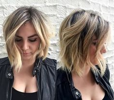 medium asymmetric brown blonde bob