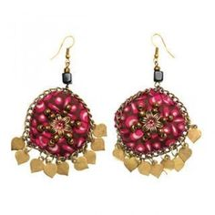 Floral Medallion Earrings Magenta - One Size