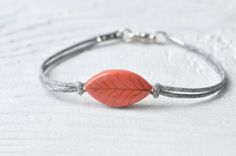 FREE SHIPPING Handpainted bracelet leaf bracelet red by MagicTwirl