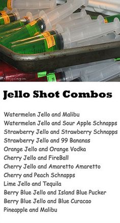 How to make jello shots or shooters in syringes. Jello shots or Jello shooters are all the rage. Try one of my liquor and Jello combination recipes. Syringe Jello Shots, Alcohol Jello Shots, Making Jello Shots, Jello Pudding Shots, Alcohol Drink Recipes, Shot Ideas Alcohol, Tipsy Bartender Jello Shots, Peach Jello Shots, Yummy Jello Shots