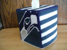 Seattle Seahawks FootBall Team Tissue Box Cover by ShanaysCreation, $15.00 Plastic Canvas Stitches, Plastic Canvas Tissue Boxes, Plastic Canvas Crafts, Plastic Canvas Patterns, Nfl Football Helmets, Seahawks Football, Seattle Seahawks, Football Team, Kleenex Box