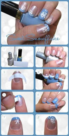 Snowflake French and many more seriously cute and apparently easy holiday nail tutorials, I definitely am going to try a couple!