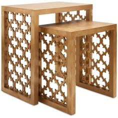 Arabesque Nesting Table Set of 2 ($441) ❤ liked on Polyvore featuring home, furniture, tables, accent tables, mdf furniture and gold accent table