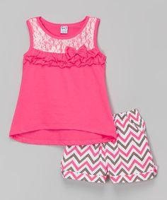 Neon Peach Ruffle Tank & Zigzag Shorts - Toddler & Girls