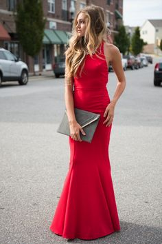 Red around the neck backless long christmas ny prom wedding maxi dress