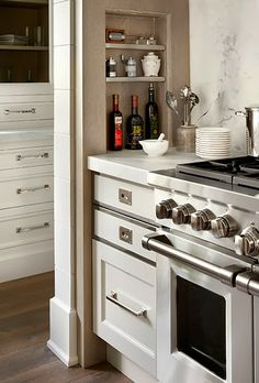 Recessed space is a good use of tight or limited space in a smaller kitchen.