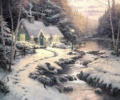 Oh..can you imagine being here? Sitting with a cup of coffee or tea & watching the deer at the window? *sigh* Evening Glow ~ Thomas Kinkade
