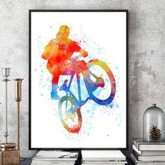 Mountain Bike Art, Mountain Bike Gift, Mountain Bike Print, Watercolour Prints, Sports Decor, Kids Room, Mountain Biker (N010) by PointDot on Etsy
