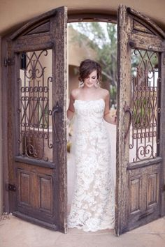 Iron and Wood Door- Bridal Portrait idea... very vintage looking!