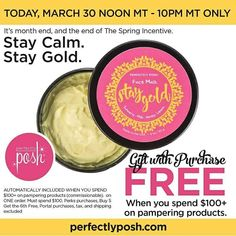YOU DON'T WANT TO MISS THIS!! Go for the Gold! Stay Gold FREE with $100 product purchase. March 30, Noon to 10 PM (MT)! Excludes tax, shipping paid, and any Perks applied. Shop now! https://mistirae.po.sh/products
