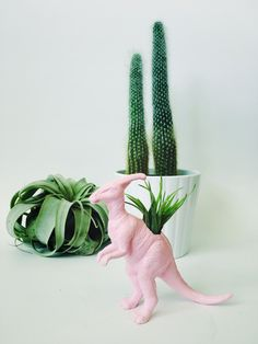 Small Pastel Pink Parasaurolophus / Parasaur Dinosaur Planter with Air Plant Included! Perfect for home, work, or even a dorm! These dinosaur planters add tons of personality to any room! Air plants a