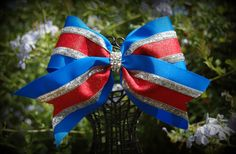 electric blue red and silver cheer bow. See more at  Facebook Ribbons and Bows oh My or on our website http://ribbonsandbowsohmy.wix.com/ribbonsandbowsohmy