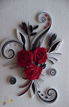 Quilled Red Roses/Black & White Twirls - by: Neli Beneva