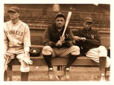 Hanging On The Bench c.1930 -   (L-R) Bill Dickey, Babe Ruth & Lefty Gomez