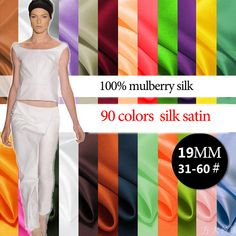 19mm 114cm width 90 colors 100% mulberry silk satin / charmeuse by half meter (31-60#) DF996 by 123Silk on Etsy