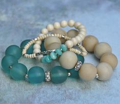 New one-of-a-kind summer style bracelets... Visit  www.etsy.com/shop/beadrustic