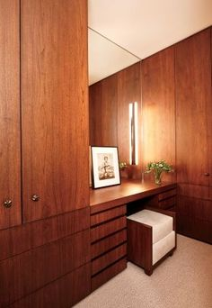 A sleek dressing room/closet in a NYC apartment.
