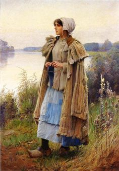 Knitting in the Fields - Charles Sprague Pearce