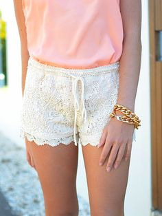 Lace shorts match any tops for summer - a must try