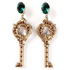 DOLCE & GABBANA key earrings ($715) ❤ liked on Polyvore featuring jewelry, earrings, accessories, dolce gabbana jewelry, dolce&gabbana, circle jewelry y circle earrings