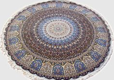 Gonbad Royalty Wool Persian Rug You pay: $7,900.00 Retail Price: $14,900.00 You Save: 47% ($7,000.00) Item#: TD-1 Category: Round Persian Rugs Design: Dome Geometric Size: 250 x 250 (cm)      8' 2 x 8' 2 (ft) Origin: Persian, Tabriz Foundation: Wool Material: Wool & Silk Weave: 100% Hand Woven Age: Brand New KPSI: 500