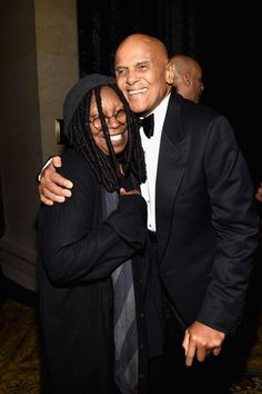 Harry Belafonte and Whoopi Goldberg at the 2015 amfAR New York Gala