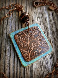 Etched+Copper+Spirals+Necklace+with+Blue+by+silkcreekmetalworks,+$35.00