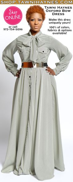 Tawni Haynes Button Down Oxford Bow Dress. Online @ http://shop.tawnihaynes.com/product-p/oxford-dress.htm or call 972-754-5096